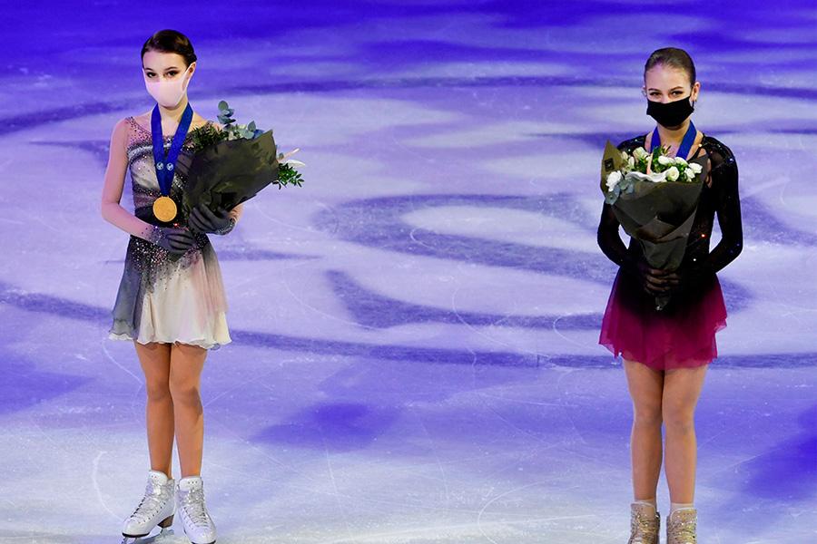 Анна Щербакова и Александра Трусова на чемпионате мира