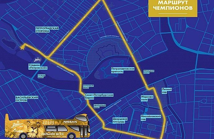 """30-го мая """"Зенит"""" на открытом золотом автобусе проедет маршрут чемпионов"""
