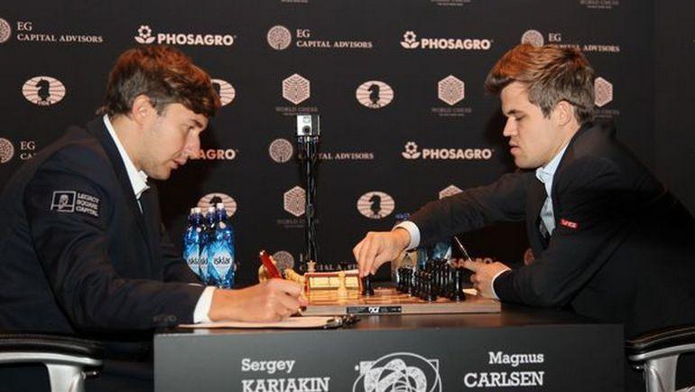 Сергей Карякин и Магнус Карлсен сыграли вничью в 12-й партии