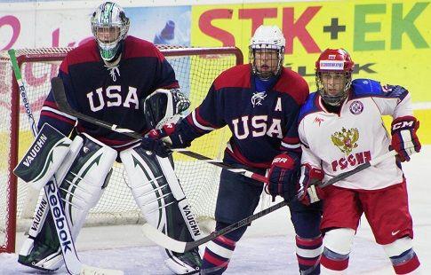 Хоккей. Юниорский Чемпионат Мира (до 18 лет). Сборная США - сборная России. Россияне уступают в упорной борьбе