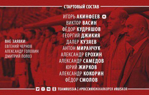 Смолов и Кокорин - в атаке сборной России на матч против Кореи