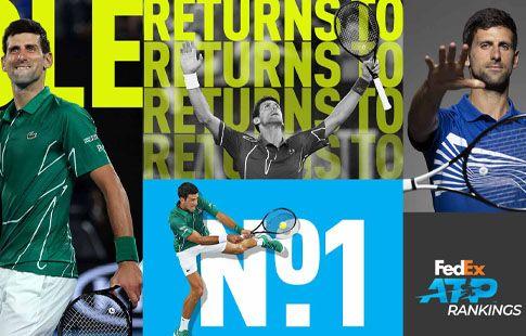 Джокович стал первой ракеткой мира, Медведев потерял одну позицию в рейтинге ATP