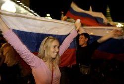 Болельщики празднуют победу России (ВИДЕО)